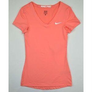 Nike Pro V-Neck Training Shirts Top Sunblush White